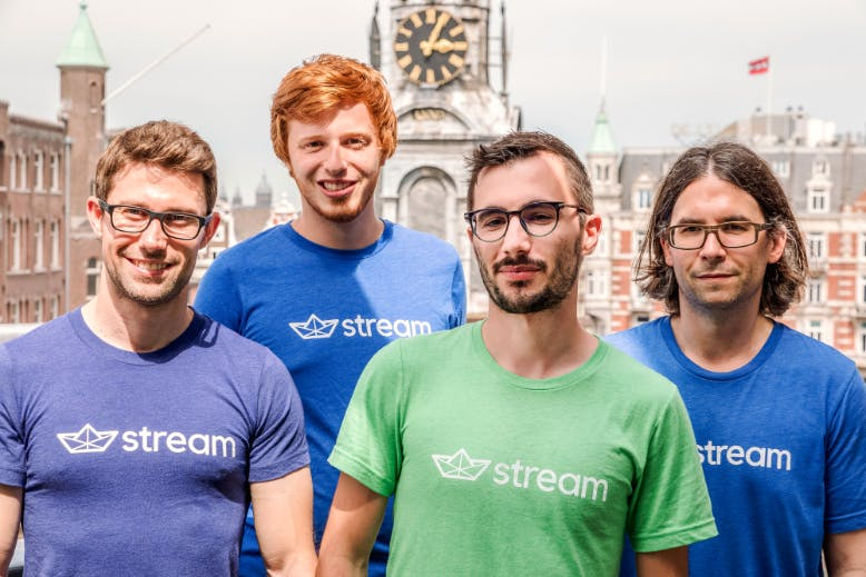 Part of the Stream team outside its office in Amsterdam.