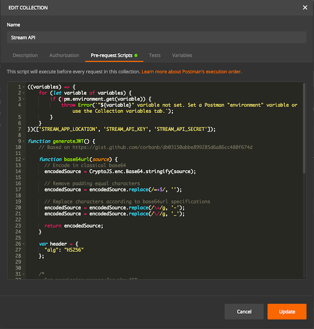 Collection-level Pre-Request Script screenshot