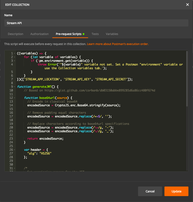 Collection-level Pre-Request Script screenshot