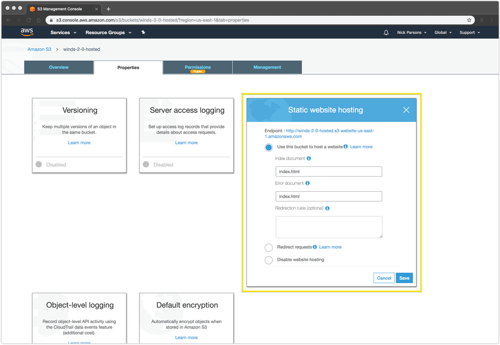 Deploying the Winds App to Amazon S3 and CloudFront - The